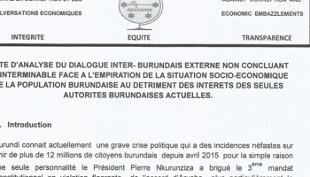 NOTE D'ANALYSE DU DIALOGUE INTER- BURUNDAIS EXTERNE NON CONCLUANT ET INTERMINABLE FACE A L'EMPIRATION DE LA SITUATION SOCIO-ECONOMIQUE DE LA POPULATION BURUNDAISE AU PROFIT  DES INTERETS DES SEULES AUTORITES BURUNDAISES ACTUELLES.