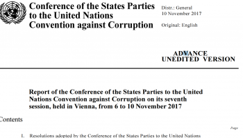 Report of the Conference of the States Parties to the United Nations Convention against Corruption on its seventh session, held in Vienna, from 6 to 10 November 2017